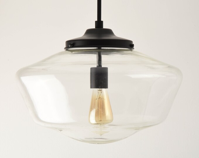 Pendant Light - Matte Black - Mid Century - Modern - Industrial - Clear - 16 inch - Schoolhouse Glass Globe [EVANSTON]