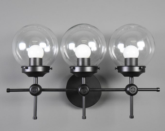 Wall Sconce - Matte Black - Mid Century - Modern - Industrial - Wall Light - 6 Inch Glass Globe - Bathroom Vanity - UL Listed [DAYTONA]