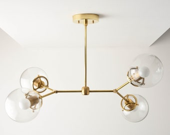 Chandelier - Raw Brass - Mid Century - Industrial - Modern - Sputnik - 2 Arm - 4 Light - 6 inch - Clear Globe - UL Listed [ATLANTA]