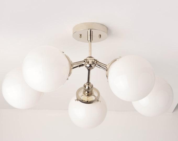 Dallas Chandelier [Polished Nickel - Mid Century - Industrial - Modern - 5 Arm - Sputnik - White Globe - Hanging - Large - Lighting]