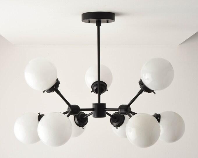 Chandelier - Matte Black - Mid Century - Industrial - Modern - Tree Branch - Candelabra - 9 Light - 5 inch - Globe - UL Listed [STOCKHOLM]