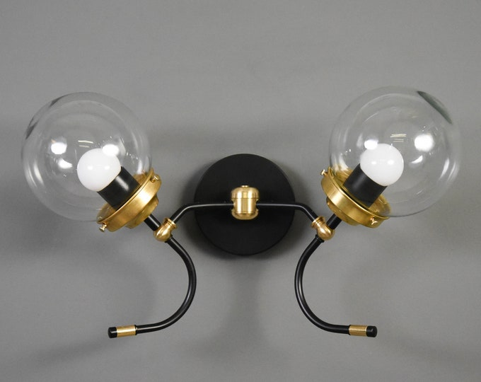 Black & Brass Mix Wall Sconce Double Light 6-inch Globe Vanity Mid Century Industrial Modern Art Light UL Listed
