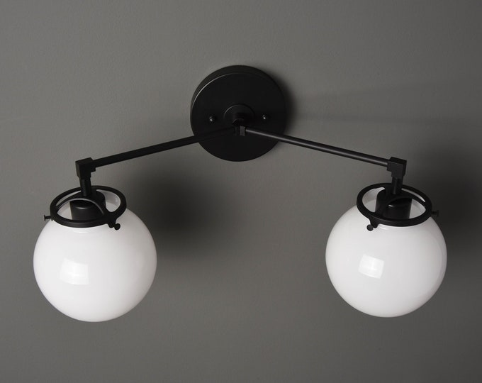 Wall Sconce - Matte Black - Mid Century - Modern - Industrial - White Glass Globes - Art Light - Bathroom Vanity - UL Listed [ACTON]