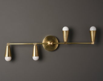 Albany Wall Sconce [Raw Brass - Mid Century - Modern - Industrial - 4 Light - 4 Bulb - Cone Cover - Bathroom - Vanity - UL Listed]