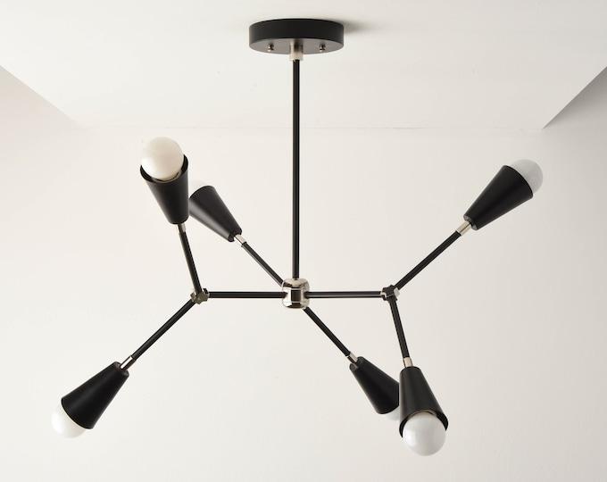 Sputnik Chandelier - Black & Polished Nickel - Mid Century Hanging Light - Industrial - Modern - Ceiling Light - UL Listed [SEATTLE]
