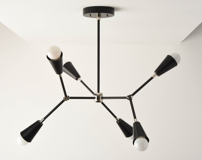 Sputnik Chandelier - Black&Polished Nickel - Mid Century - Industrial - Modern - Ceiling Light - Branching Chandelier - UL Listed [SEATTLE]