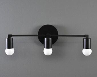 Avon Wall Sconce [Matte Black - Mid Century - Modern - Industrial - Vanity - 3 Light - Cylindrical Cover - Art Light - Bathroom - UL Listed]