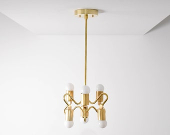 Raw Brass Gold Pendant Light Abstract 6 Bulb Mid Century Edison Industrial Hanging Light Lighting