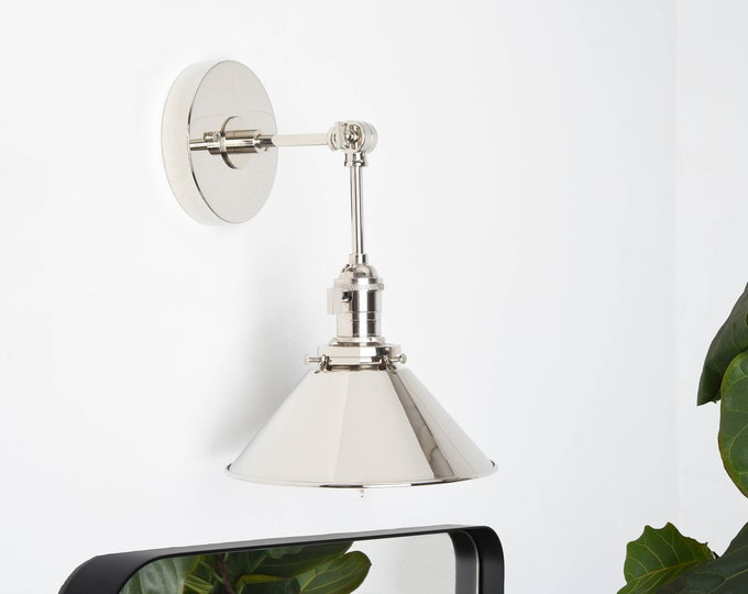 Adjustable Wall Sconce - Modern Wall Light - Polished Nickel - Mid Century - Industrial - Bathroom Vanity [BALDWIN]