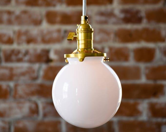 Roslyn Pendant Light [Raw Brass - Mid Century - Modern - Industrial - White Glass Globe - Cloth Wire - Plug In - Canopy - Edison Bulb]