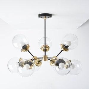 Sputnik Chandelier,Mid Century Modern 5 Light Gold Brushed Ceiling Chandeliers Beautiful Large Glass Chandelier Industrial Vintage Ceiling Light