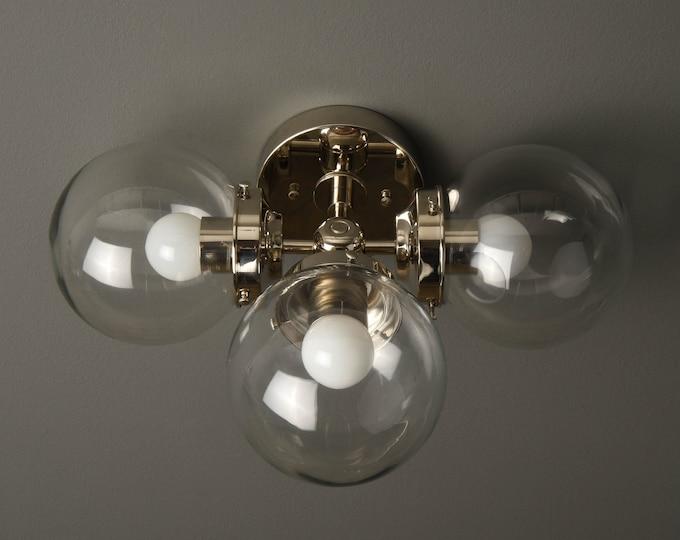 Wall Sconce - Polished Nickel - Mid Century - Modern - Industrial - Wall Light - Clear 6 Inch Globe - Bathroom Vanity - UL Listed [BASCOM]