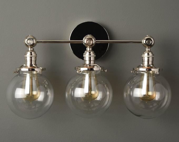 Modern Globe Sconce - Polished Nickel - Mid Century - Industrial - Bathroom Vanity - Glass Globes - Wall Light - UL Listed [PENSACOLA]