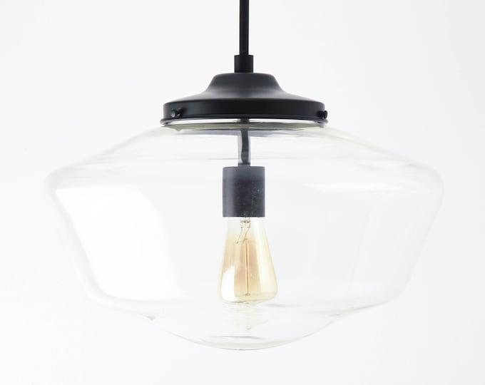 Pendant Light - Matte Black - Mid Century - Modern - Industrial - Clear - 16 inch - Schoolhouse Glass Globe [EVANSTON]