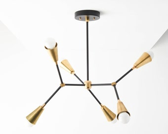 Sputnik Chandelier - Black & Gold Hanging Light - Mid Century - Industrial - Modern - Ceiling - Branching Chandelier - UL Listed [SEATTLE]