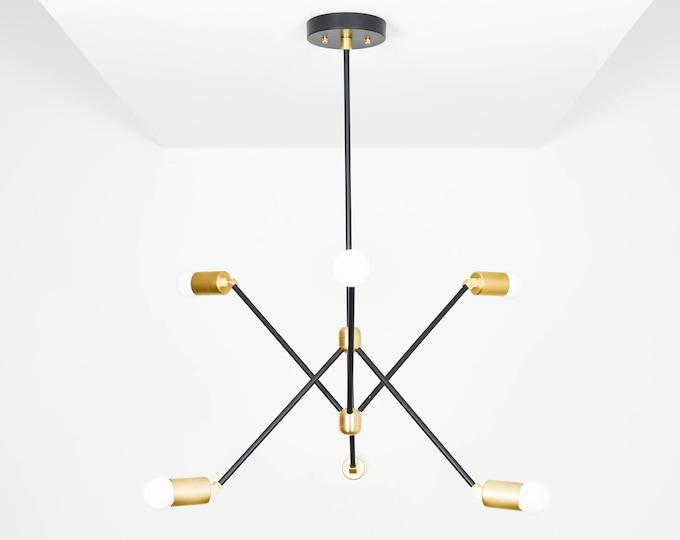 Modern Chandelier Lighting - Black & Brass - Mid Century - Industrial - Sputnik - Pinwheel - 6 Arm - 6 Light - Hanging - UL Listed [HAVANA]