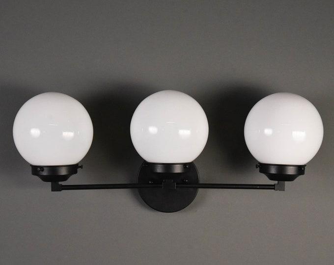 Modern Globe Light - Matte Black - Mid Century - Industrial - Wall Light - Glass Globe - Bathroom Vanity - UL Listed [FRISCO]