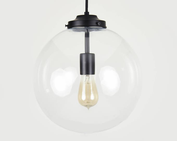 Globe Pendant Light - Matte Black - Mid Century - Modern - Industrial - Glass Globe - Cloth Wire - Kitchen Island - UL Listed [TACOMA]
