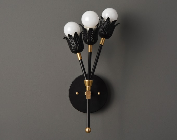 Wall Sconce - Black & Brass - Mid Century - Modern - Industrial - Wall Light - Art Light - Bathroom Vanity - UL Listed [BEAUMONT]