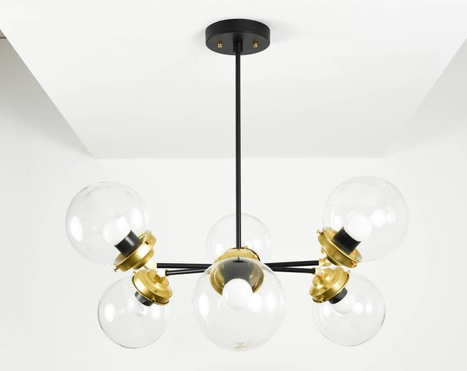 Sputnik Chandelier - Black & Brass - Mid Century - Industrial - Modern - Ceiling Light - UL Listed [COPENHAGEN]