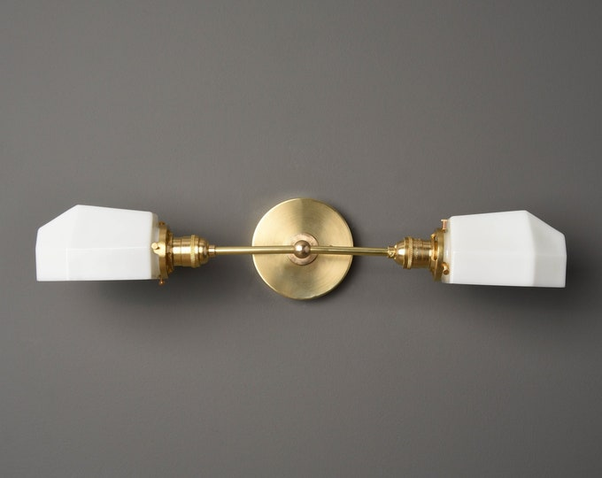 Wall Sconce - Raw Brass - Mid Century - Modern - Industrial - White Opal Geometric Globe - Bathroom Vanity - UL Listed [AMHERST]