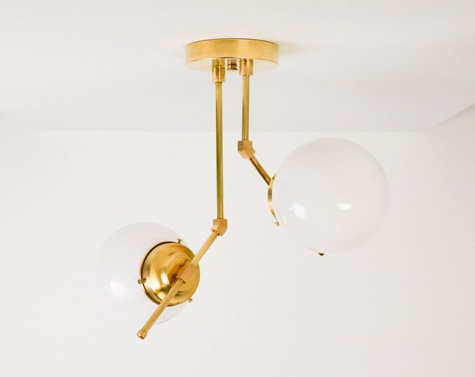 Semi Flush Ceiling Light - Raw Brass - Mid Century - Modern - Industrial - 6 Inch Globe - Hanging Light - UL Listed [STOCKTON]