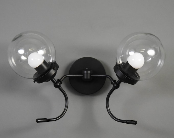 Matte Black Wall Sconce Double Light 6-inch Globe Vanity Mid Century Industrial Modern Art Light UL Listed
