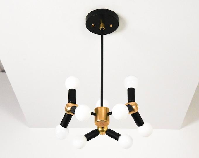 Chandelier - Black & Brass - Mid Century - Industrial - Modern - Candelabra - 9 Light - Pinwheel - Atomic - Bubbly - UL Listed [MADRID]
