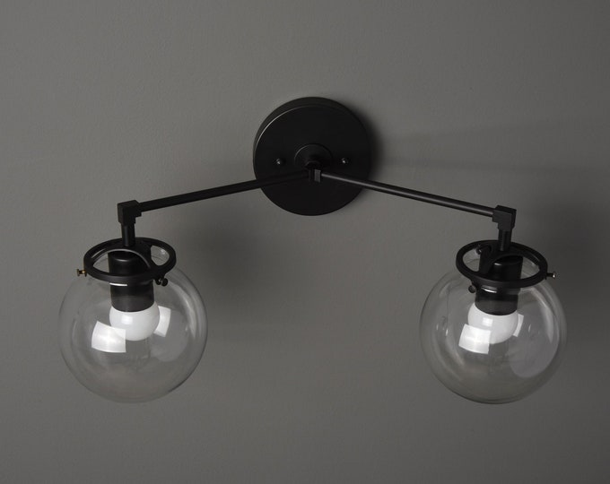 Wall Sconce - Matte Black - Mid Century - Modern - Industrial - Clear Glass Globes - Art Light - Bathroom Vanity - UL Listed [ACTON]