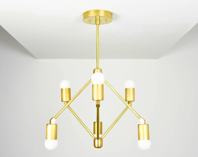 Modern Chandelier - Raw Brass - Mid Century - Sputnik - Abstract - Large - Gold - Lighting - UL Listed [CHARLOTTE]