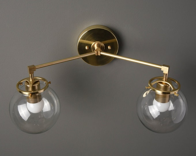 Gold Vanity Light - Modern Wall Sconce - Mid Century - Industrial - Glass Globes - Bathroom Vanity - UL Listed [ACTON]