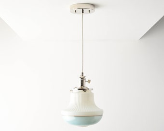 Pendant Light - Polished Nickel - Mid Century - Modern - Industrial - Art Deco - Turquoise Blue - Painted Banding Glass Globe [DUVALL]