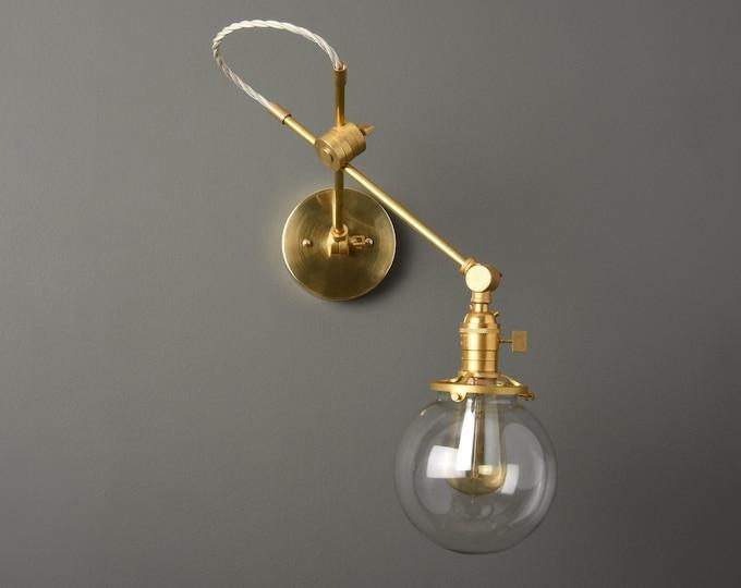 Adjustable Wall Sconce - Industrial Wall Light - Gold Vanity Light - Mid Century - Modern - Articulating - Bathroom Vanity [HUDSON]
