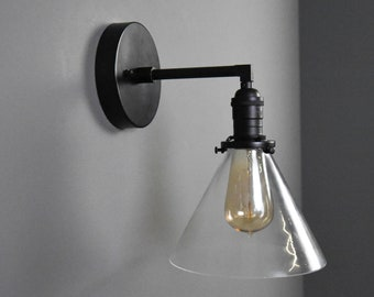 Industrial Wall Sconce - Matte Black - Mid Century - Modern - Wall Light - Glass Shade - Bathroom Vanity - UL Listed [HILLIARD]