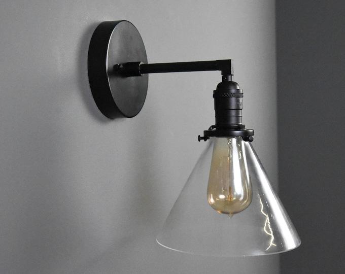Industrial Wall Sconce - Matte Black - Mid Century - Modern - Wall Light - Glass Shade - Bathroom Vanity - UL Listed [HILLIARD]