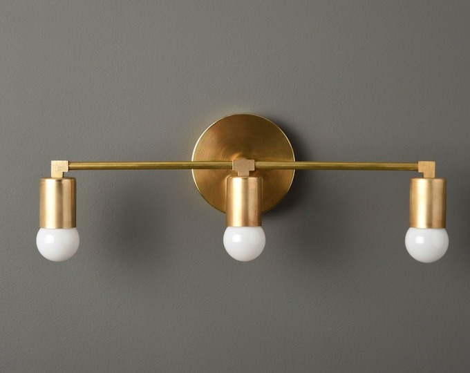Modern Wall Sconce - Gold Vanity Light - Raw Brass - Mid Century - Industrial - Wall Light - Bathroom Vanity - UL Listed [AVON]