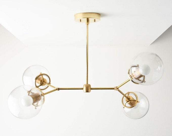 Modern Globe Chandelier - Sputnik Chandelier - Raw Brass - Mid Century - Industrial - Modern - Clear Globe - UL Listed [ATLANTA]