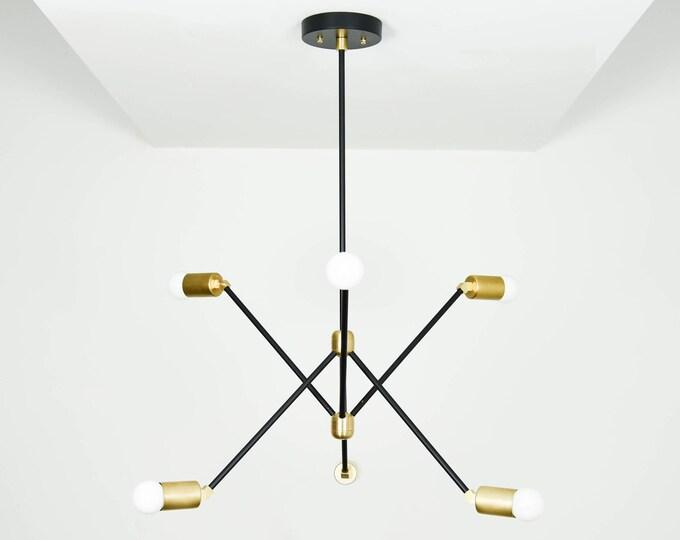 Modern Chandelier Lighting - Black & Brass - Mid Century - Industrial - Sputnik - Pinwheel - 6 Arm - 6 Light - Hanging - UL Listed [HAVANA]