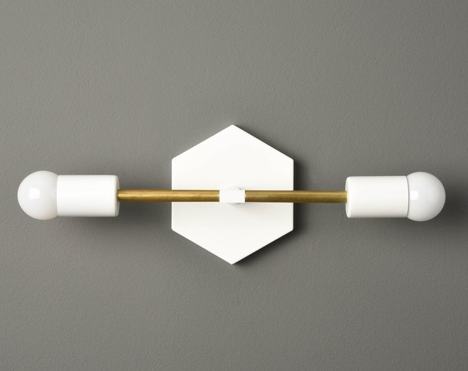 Modern Wall Sconce - Matte White & Brass - Mid Century - Industrial - Wall Light - Bathroom Vanity - Hexagon - UL Listed [ATHENS]