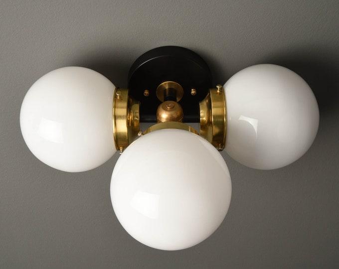 Wall Sconce - Black & Brass - Mid Century - Modern - Industrial - Wall Light - Clear 6 Inch Globes - Bathroom Vanity - UL Listed [BASCOM]