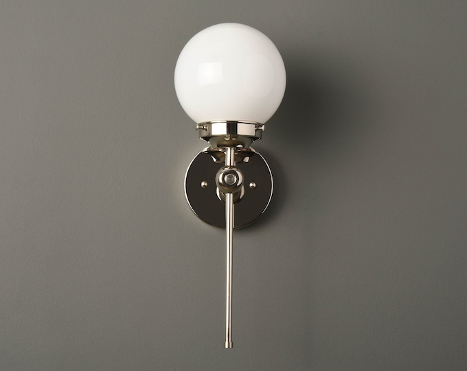 Globe Sconce - Modern Wall Light - Polished Nickel - Mid Century - Industrial - Glass Globe - Bathroom Vanity - UL Listed [PIERSON]