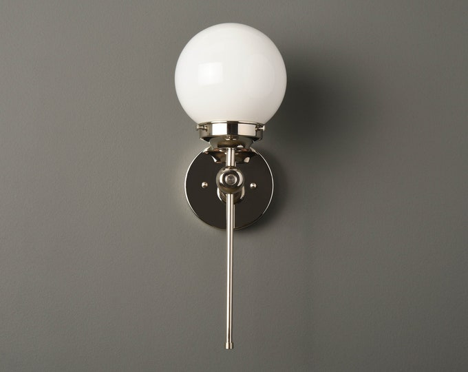Wall Sconce - Polished Nickel - Mid Century - Modern - Industrial - Wall Light - 6 Inch Glass Globe - Bathroom Vanity -UL Listed [PIERSON]
