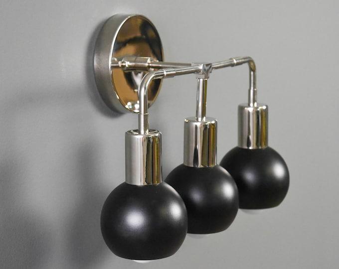 Mid Century Wall Sconce - Modern Wall Light - Bathroom Vanity Light - Black & Nickel - Industrial - UL Listed [LARGO]