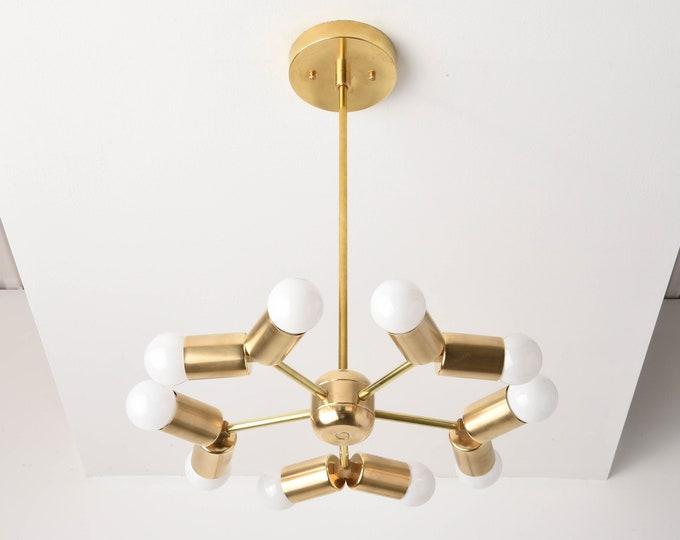 Chandelier - Raw Brass - Mid Century - Industrial - Modern - 5 Arm - 10 Light - Pinwheel - Sputnik - UL Listed [MANILA]