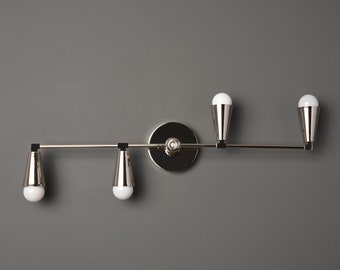 Albany Wall Sconce [Polished Nickel - Mid Century - Modern - Industrial - 4 Light - 4 Bulb - Cone Cover - Bathroom - Vanity - UL Listed]