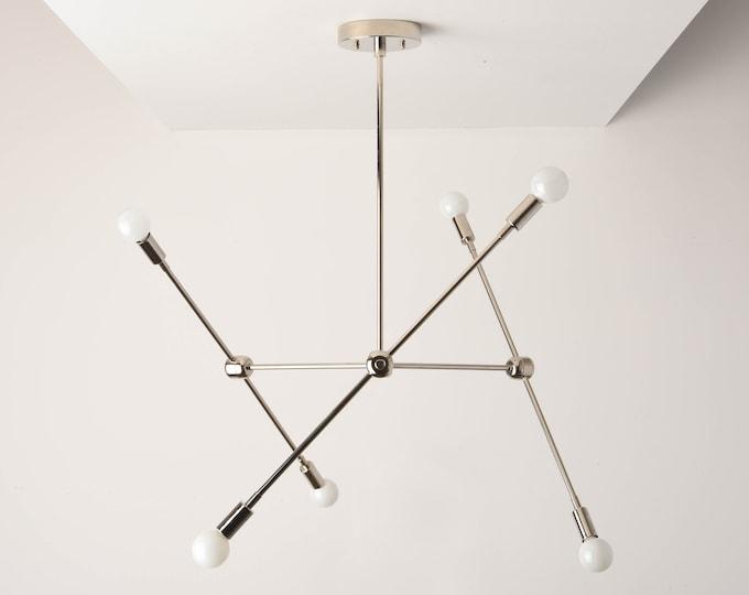 Sputnik Chandelier - Polished Nickel - Mid Century - Industrial - Modern - Branching Chandelier - Ceiling Light - UL Listed [BALTIMORE]