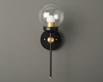 Modern Globe Sconce - Black & Brass - Mid Century - Industrial - Wall Light - Glass Globe - Bathroom Vanity - UL Listed [PIERSON]