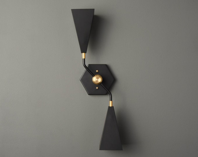 Bathroom Vanity Light - Wall Sconce - Black & Brass - Mid Century - Industrial - Modern - Hexagon - UL Listed [AMARILLO]