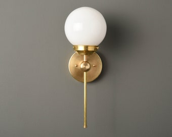Wall Sconce - Raw Brass - Mid Century - Modern - Industrial - Wall Light - 6 Inch Glass Globe - Bathroom Vanity -UL Listed [PIERSON]