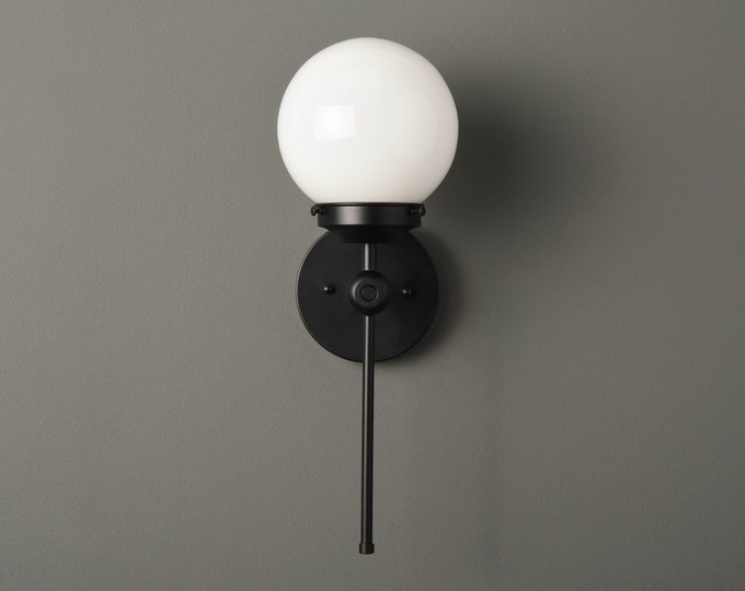 Modern Globe Sconce - Matte Black - Mid Century - Industrial - Wall Light - 6 Inch Glass Globe - Bathroom Vanity - UL Listed [PIERSON]